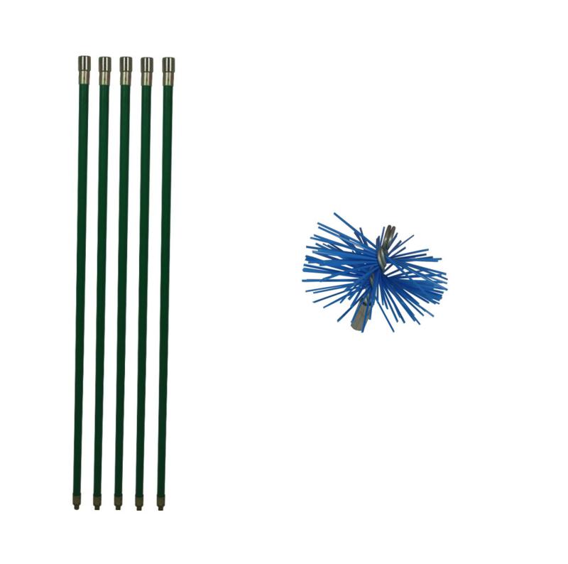 Groene veegset professioneel 5 meter met  nylonborstel 150 mm