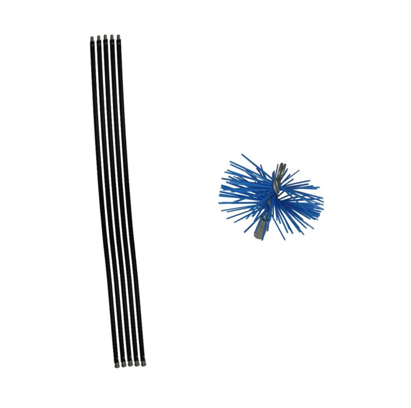 Zwarte veegset  6,00 meter of meer met nylonborstel 125mm
