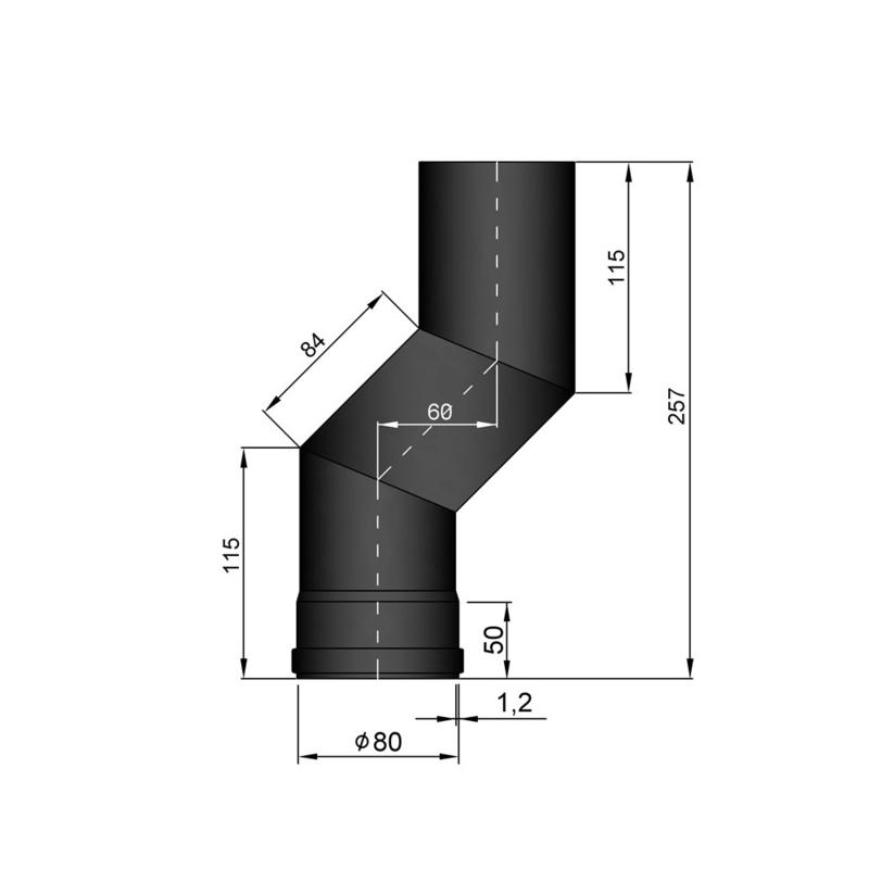 Pelletkachel S-bocht ∅ 80mm (versleping 6 cm)