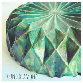 Found Diamond groot groentinten buitenkant (geglazuurd)