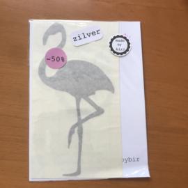 Sticker Flamingo zilver
