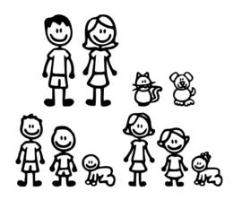 Brievenbus/Voordeur familie sticker met namen
