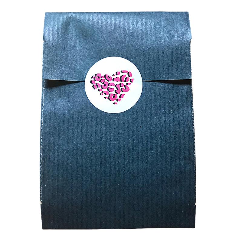 Luipaard print hart roze & goud - sticker rond 30 mm - set van 10