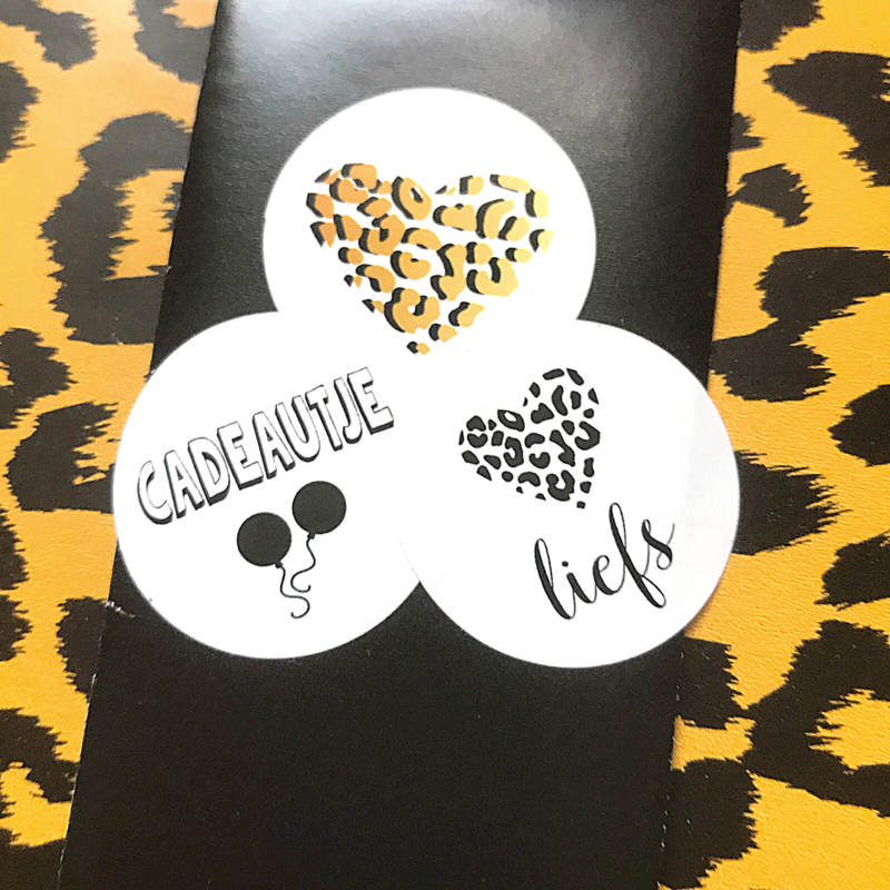 Luipaard print hart goud - sticker rond 30 mm - set van 5