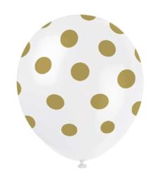 Ballonnen Transparant Stip Goud | 6 stuks