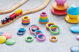 Rainbow houten ringen TickIt 21 dlg. Loose Parts