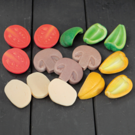 Pizza Toppings | Zintuiglijke Speel Stenen | Yellow Door | 15 dlg.