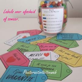 Labels voor vakantie, afscheid, feest of zomaar