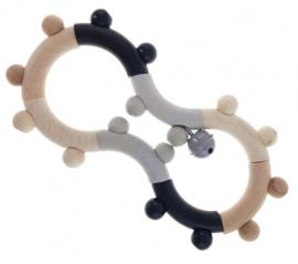 Houten rammelaar achtvormig (naturel/zwart)