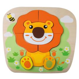 Jouéco houten dieren puzzel leeuw