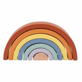 Houten Regenboog blokken Aarde tinten 7 dlg.