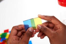 Transparante gekleurde vierkanten EDX 300 dlg.