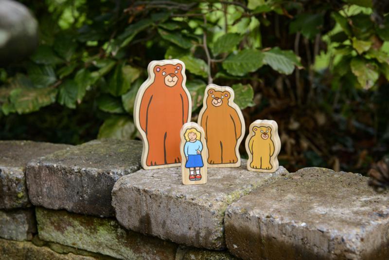 Houten Goudlokje en de 3 beren met boek | Yellow door | 4 dlg.