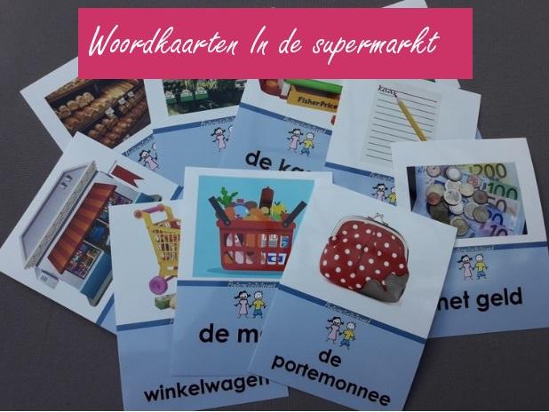 Woordkaartenset In de supermarkt