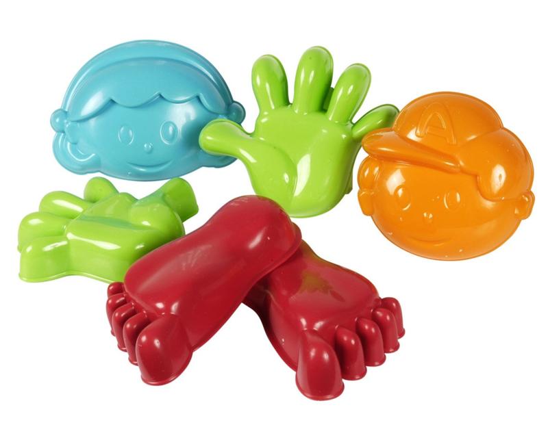 Zandvormen Hand, Voet, Gezicht 6 dlg.