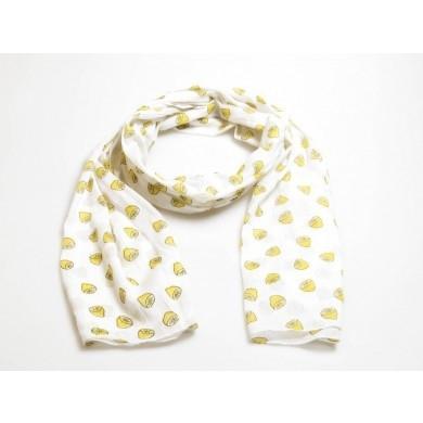 sjaal citroentjes wit - geel