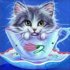 painting kat in een kopje