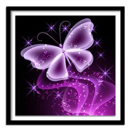 painting paarse vlinder