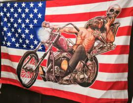 Bandera americana con motor 77 x 105 cm.