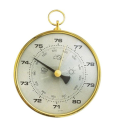 Analoge Gouden aneroïde barometer 10cm