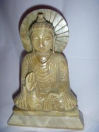 groene speksteen boeddha beeld 15cm