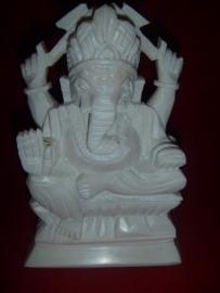 Wit Spekstenen Ganesha Boedha Beeld 15cm