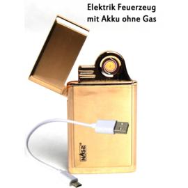 Metalen elektrische aansteker met batterij en USB-kabel