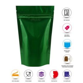 Groen glanzende stazak / tas met ritssluiting