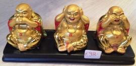 3 Gouden Boeddha Beeldjes ,Horen, Zien en Zwijgen 20cm
