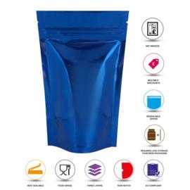 Blauw glanzend stazak / tas met ritssluiting