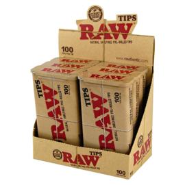 Raw voorgerolde tips in metal box