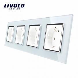 Livolo | Wit viervoudig | Wandcontactdoos