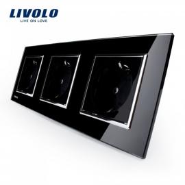 Livolo | Zwart drievoudig | Wandcontactdoos