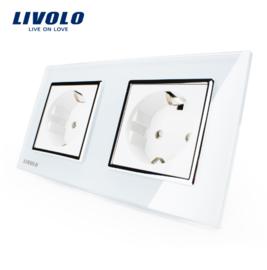Livolo | Wit tweevoudig | Wandcontactdoos
