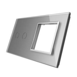 Livolo | Grijs glasplaat | Combinatie | 2+SR