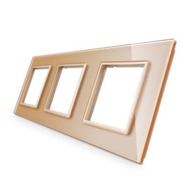 Livolo | Goud glasplaat | SR+SR+SR