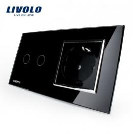 Livolo | Zwart | Combinatie | Serieschakelaar met wandcontactdoos