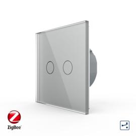 Livolo | Grijs tweevoudig | Wisselschakelaar | Zigbee/wifi app