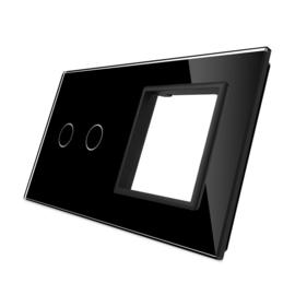 Livolo | Zwart glasplaat | Combinatie | 2+SR