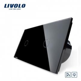 Livolo | Zwart enkelpolige dimmer 1+1 | Afstandbediening