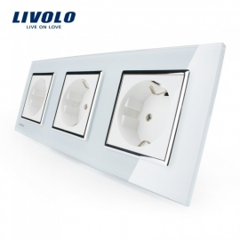 Livolo | Wit drievoudig | Wandcontactdoos