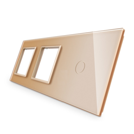 Livolo | Goud glasplaat | Combinatie | SR+SR+1