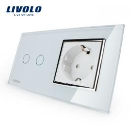 Livolo | Wit | Combinatie | Serieschakelaar met wandcontactdoos