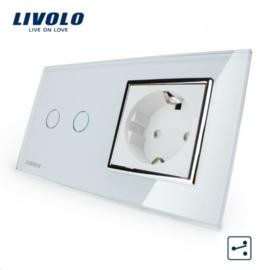 Livolo   Wit   Combinatie   Wisselschakelaar tweevoudig met wandcontactdoos