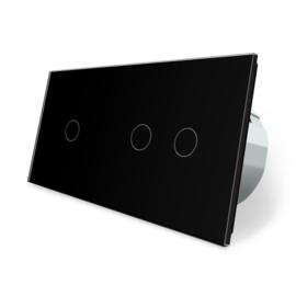 Livolo | Zwart 1+2 | Enkelpolige + serieschakelaar