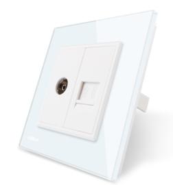 Livolo | Wit | Combinatie | TV en telefoon aansluiting