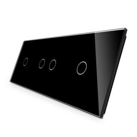 Livolo | Zwart glasplaat | Touchschakelaar | 1+2+1