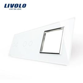 Livolo | Wit glasplaat | Combinatie | 2+2+1 Deluxe