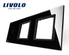 Livolo | Zwart glasplaat | Combinatie | 1+ (1+1 Deluxe) | Frame zwart