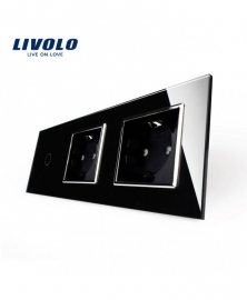 Livolo | Zwart | Combinatie | Enkelpolige schakelaar met twee wandcontactdozen
